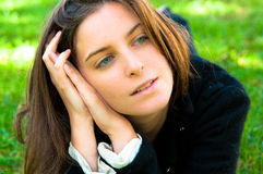 Woman outdoors portrait of thinking w Royalty Free Stock Photo