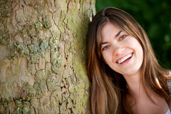 Woman outdoors smiling Royalty Free Stock Photo