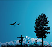 Woman outdoors with tree. Woman outdoors with mountain, tree and birds royalty free illustration