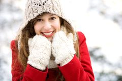 Woman outdoors in winter Royalty Free Stock Photo