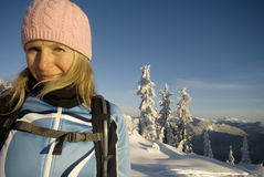 Woman outdoors in winter Royalty Free Stock Photography