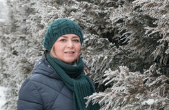 Woman. Outdoors in winter day Stock Photos