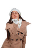 Woman in outrwear, white scarf and hat Stock Photography