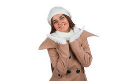 Woman in outrwear, white scarf and hat Royalty Free Stock Photography