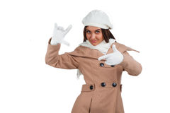 Woman in outrwear, white scarf and hat Stock Image