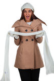 Woman in outrwear, white scarf and hat Royalty Free Stock Photos