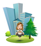 A woman outside the building holding a tray with coffee Royalty Free Stock Photo
