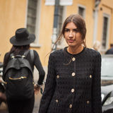 Woman outside Missoni fashion shows building for Milan Women's Fashion Week 2014 Royalty Free Stock Images