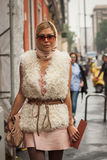 Woman outside Missoni fashion shows building for Milan Women's Fashion Week 2014 Stock Photos