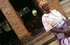 A woman outside Ntarama Church, Rwanda. Stock Photography