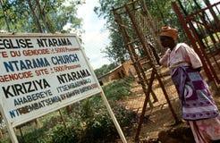 A woman outside Ntarama Church, Rwanda. Stock Image