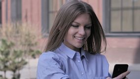 Woman Outside Office Taking Selfie on Smartphone. 4k , high quality stock video footage