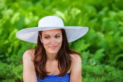 Woman Outside with a Sun Hat Stock Image