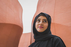 Woman outside United Arab Emirates pavilion at Expo 2105 in Mila Stock Photos