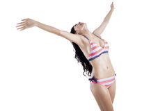 Woman with outstretched arms isolated 1 stock photos