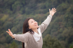Woman outstretched hands Stock Images
