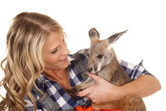 Woman over alls kangaroo close Royalty Free Stock Images