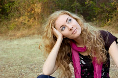 Woman over autumn background Royalty Free Stock Image