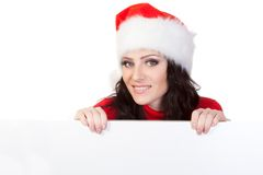 Woman over blank board Royalty Free Stock Image