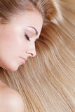 Woman over blond hair Stock Photos