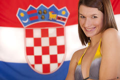 Woman over croatian flag Royalty Free Stock Photos