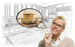 Woman Over Custom Kitchen Drawing and Thought Bubble Photo. Creative Woman With Pencil Over Custom Kitchen Drawing and Thought Bubble Photo Combination Royalty Free Stock Photo