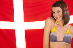 Woman over denmark flag Stock Photography