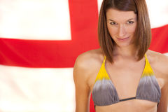 Woman over england flag Stock Images