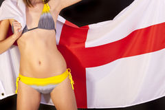 Woman over england flag Stock Image
