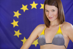 Woman over european flag Stock Photos