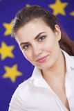 Woman over european union flag Royalty Free Stock Photo
