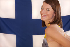 Woman over finnish flag Royalty Free Stock Photos