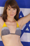 Woman over israel flag Stock Photography