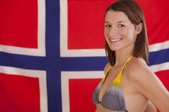 Woman over norwegian flag Stock Photos