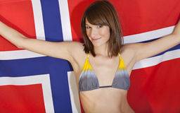 Woman over norwegian flag Royalty Free Stock Photos