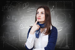 Woman over school chalk board background. Thoughtful woman over school chalk board background Stock Image