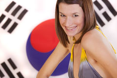 Woman over south korea flag. Beautiful woman in bikini over south korea flag stock photography