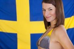 Woman over sweden flag stock photos