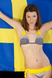Woman over sweden flag Royalty Free Stock Photos