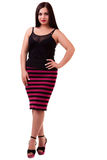 Woman over white background full body Stock Image