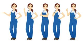 Woman in overalls set. Pretty woman in overalls vector illustration set Royalty Free Stock Photography