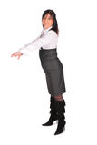 Woman in overalls sideview Royalty Free Stock Photography