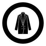 Woman overcoat black icon in circle vector illustration. Isolated Royalty Free Stock Images