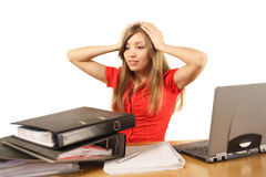 Woman overloaded with work Stock Photos