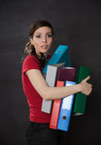 Woman overloaded with work Stock Image