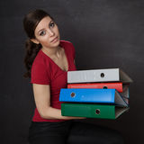 Woman overloaded with work Royalty Free Stock Photo