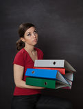 Woman overloaded with work Royalty Free Stock Image