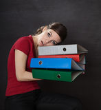 Woman overloaded with work Stock Photo