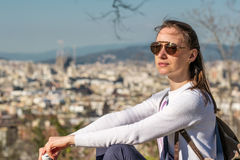 Woman overlooking Barcelona cityscape from Montjuic Royalty Free Stock Image