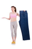 Woman with oversized jeans in dieting concept Stock Images